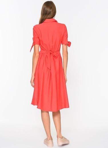 Loves You Düğmeli Kısa Kol Keten Elbise Kırmızı